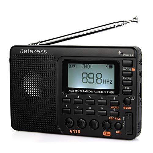 Retekess V115 Portable AM FM Radio with Shortwave Radio MP3 Player Digital Record Support/13985329