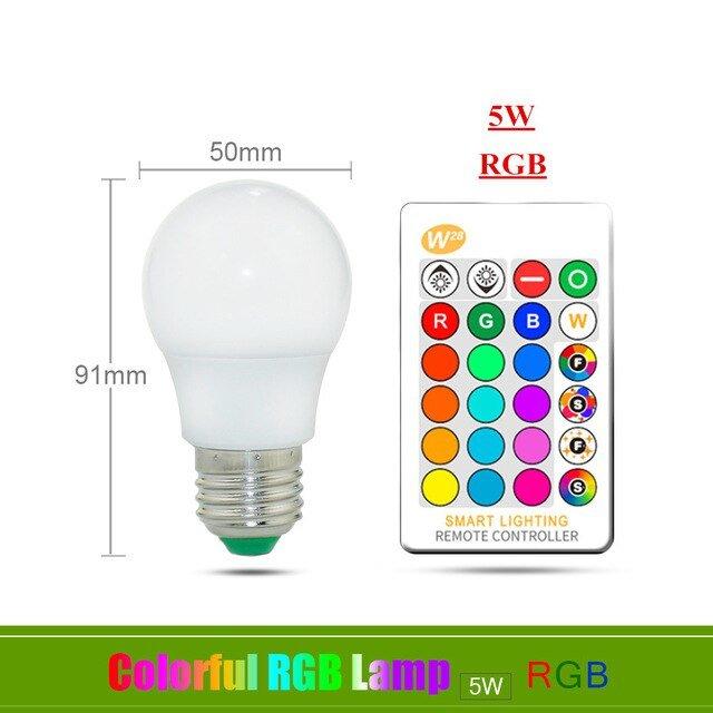 [해외]매직 RGB LED 전구 AC85-265V 스마트 조명 램프 색상 변경 IR 원격 컨트롤러와 디
