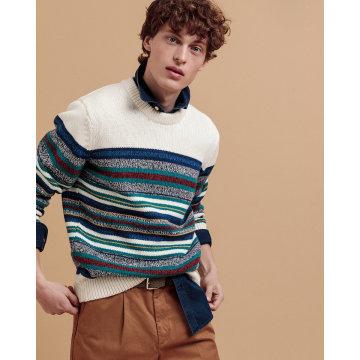 멀티스트라이프 크루넥 스웨터 DI32020023OW