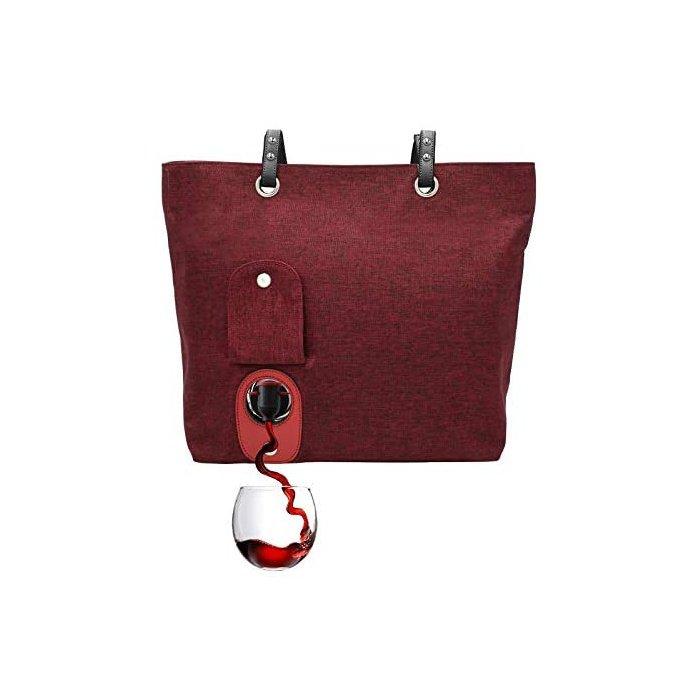 [해외]City Wine Tote (Burgundy)숨겨진 단열 구획이있는 세련된 와인 지갑, 와인 2 병 보